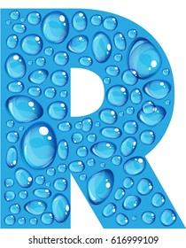 """Bold blue letter """"R"""" make up of realistic water droplets"""
