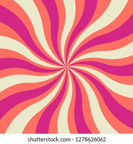 bold and bright wavy retro sunburst design background in hot purple pink white and coral which is color of the year 2019