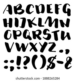 Bold brush pen script, capital English letters and punctuation signs. Informal uppercase font for cutting machine or lettering print. Handwritten sans serif type. Brushpen script on white background