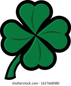 Bold color vector illustration of green fun four leaf clover with stem icon logo template easy to edit
