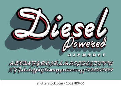 A bold cursive script alphabet with drop shadow effects; Diesel Powered font has a fifties flair.