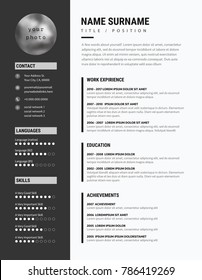 Bold CV / resume - minimalist modern sleek design - black and white vector