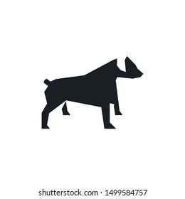 bold geometric rottweiler dog stand up idea concept logo design vector icon illustration