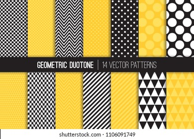 Bold Geometric Vector Patterns in Two-tone Yellow and Black and White. Chevron, Polka Dots, Stripes, Triangles and Herringbone Prints. Vector Pattern Tile Swatches Included.