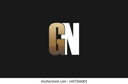 Bold GN letter design in gold and white color