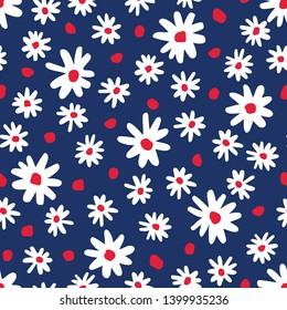 Bold graphic abstract daisies floral vector seamless pattern. Simplistic hand drawn colourful blooms on navy blue background. Retro minimal stylized flowers and dots print.