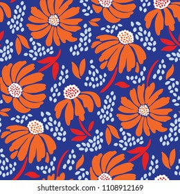 Bold graphic large scale floral vector seamless pattern. Simplistic oversized hand drawn orange blooms on indigo textured background. Retro minimal stylized flowers and foliage print.