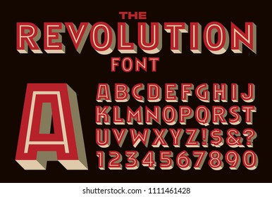 A bold inline vector font reminiscent of type used on revolutionary or political graphic poster art.