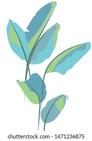 bold leafs artsy style with dots vector foliage