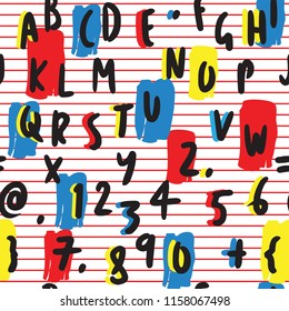 Bold Letters and Numbers Hand Drawn Seamless Pattern on White Background with Red Stripes