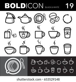 Bold line icons ,Coffee and Tea  set.Illustration eps 10