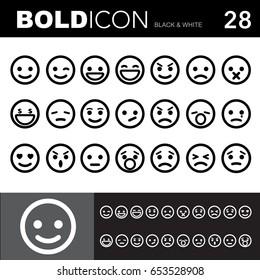 Bold line icons ,Emotion set.Illustration eps 10