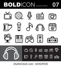 Bold line icons ,Entertainment  set.Illustration eps 10