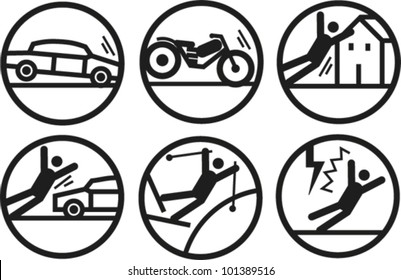 Bold line icons illustrating accidents and hazards