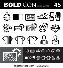 Bold line icons ,Soccer (Football) set.Illustration eps 10