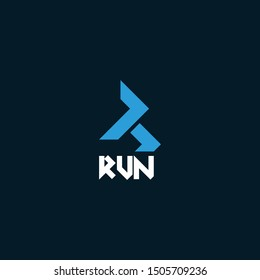 Bold logo design that represent the R and Run - EPS10 - Vector.