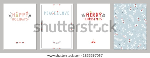 Bold Merry Christmas greeting cards. Universal trendy Winter Holidays art templates. Vector backgrounds.