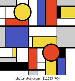 Bold modern art abstract - colorful circles, squares and rectangles. Mondrian style vector.