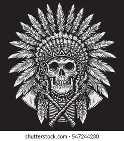 Bold Native American Skull Chief Vector