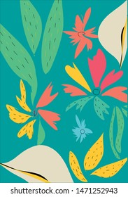 bold pattern with leaf and flowers artsy style