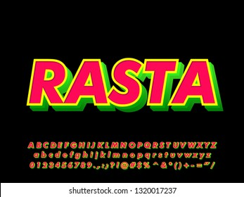 Bold Rasta sticker font effect with modern 3D shadow