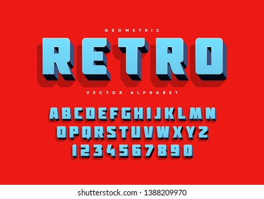 Bold retro alphabet and numbers. Eps10 vector.