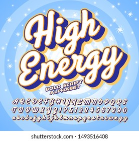Bold script vector alphabet; High energy font with sparkly spiral background image