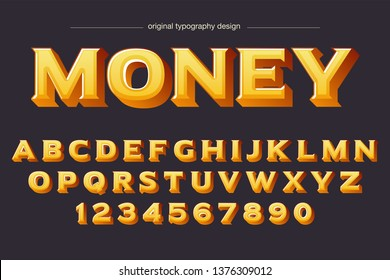 Bold Serif Money Typography Design Font Vector