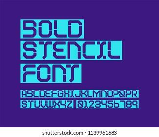 Bold stencil font set