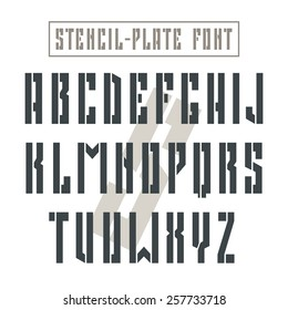 Bold stencil-plate sanserif font in military style. Black font on light background