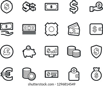 Bold Stroke Vector Icon Set - cash vector, dollar sign, eoro, wallet, piggy bank, paying, purchase, exchange, credit card, investment, coin stack, check, shield, monitor, any currency, pound
