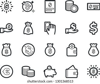 Bold Stroke Vector Icon Set - money bag vector, dollar sign, piggy bank, paying, purchase wallet, coin, investment, stack, check, receipt, euro, shine