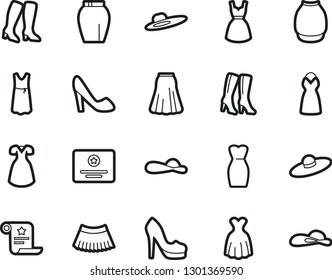 Bold Stroke Vector Icon Set - woman shoes vector, high heeled boots, dress, skirt, hat, certificate