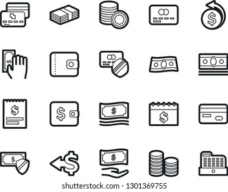 Bold Stroke Vector Icon Set - cash vector, money, wallet, credit card, paying, protected payment, back, coin stack, receipt, dollar calendar, cashbox