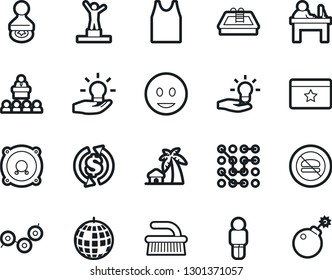 Bold Stroke Vector Icon Set - fetlock vector, undershirt, pedestal, manager, stamp, fun, speaker, pool, exchange, no fastfood, idea, circuit, man, point graph, lecture, dicso, favorites, bungalow