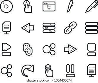 Bold Stroke Vector Icon Set - pen vector, site, settings, chain, touch, stop button, pause, fast forward, menu, share, arrow, redo, network document