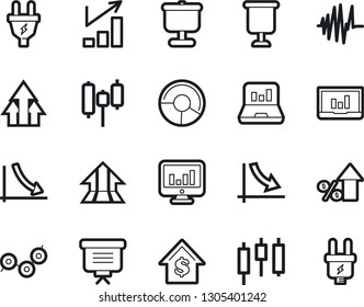 Bold Stroke Vector Icon Set - growth chart vector, crisis graph, monitor, circle, presentation, japanese candle, laptop, percent, dollar, board, arrow, point, sound, power plug