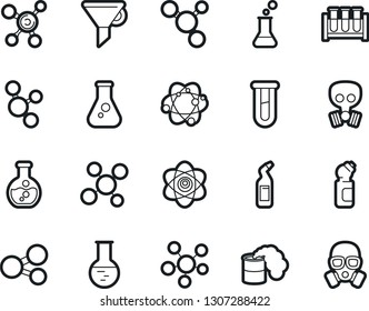 Bold Stroke Vector Icon Set - cleaning agent vector, funnel, atom, molecule, flask, vial, toxic weapon, gas mask