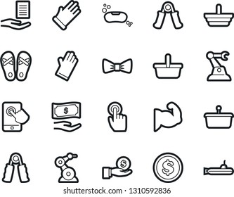 Bold Stroke Vector Icon Set - soap vector, rubber glove, flip flops, bow tie, document in hand, paying, basket, dollar coin, investment, trainer, muscule, touch, industrial robot, mobile, submarine