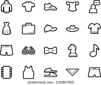 Bold Stroke Vector Icon Set - slippers vector, underpants, undershirt, blouse, bow tie, shawl, dress, hat, cap, hoodie, man speak, glasses, music, chess horse, case, snickers, t shirt, chip