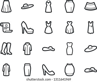 Bold Stroke Vector Icon Set - woman shoes vector, high heeled boots, dress, skirt, hat, coat, certificate