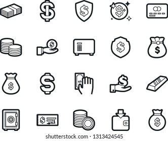 Bold Stroke Vector Icon Set - dollar sign vector, money bag, credit card, paying, purchase wallet, gold ingot, investment, coin stack, check, shield, safe, shine