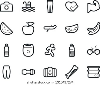 Bold Stroke Vector Icon Set - sport pants vector, heart check, apple fruit, barbell, bike, muscule hand, water bottle, pool, first aid kit, bone, run, banana, watermelone, canoe, epilator