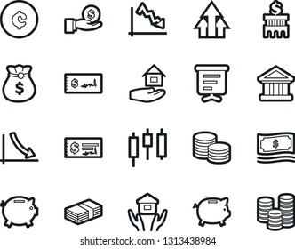 Bold Stroke Vector Icon Set - house hold vector, money bag, piggy bank, japanese candle, crisis, investment, coin stack, check, building, cent sign, growth arrow, presentation