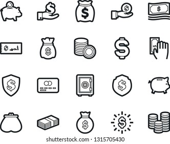 Bold Stroke Vector Icon Set - dollar sign vector, money bag, piggy bank, credit card, paying, purse, investment, coin stack, check, shield, safe, shine