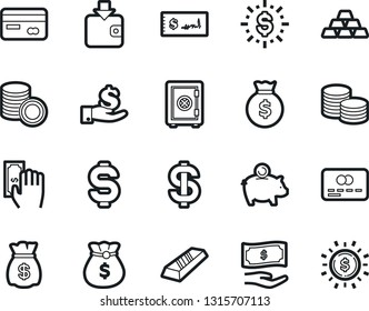 Bold Stroke Vector Icon Set - dollar sign vector, money bag, piggy bank, credit card, paying, purchase wallet, gold ingot, investment, coin stack, check, safe, shine
