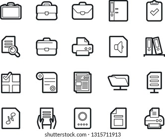 Bold Stroke Vector Icon Set - case vector, audition, document, in hand, printer, contract, exam, binder, clipboard check, news, audio file, network folder, passport