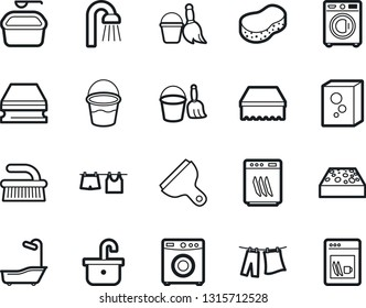 Bold Stroke Vector Icon Set - scraper vector, broom and bucket, fetlock, sponge, bath, drying clothes, washer, washing powder, shower, sink, dishwasher