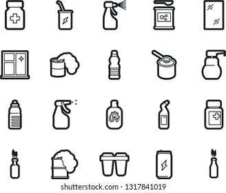 Bold Stroke Vector Icon Set - window cleaning vector, liquid soap, sprayer, agent, pills vial, sports nutrition, enegry drink, water bottle, sunscreen, filter, toxic weapon, molotov cocktail