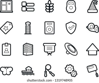 Bold Stroke Vector Icon Set - window cleaning vector, clothes button, gear, office building, identity, protect, star label, presentation, party hat, arrow down, weight, jump rope, cereals, speaker